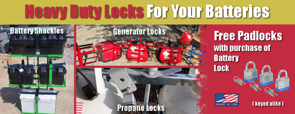 The batteryshackle.com header, depicting a battery locked to the back of an RV with our durable battery lock